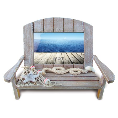 Puzzled Wooden Beach Chair Picture Frame with Starfish & Fishing Net, 6 x 4 Inch Sculptural Photo Holder Intricate Wood Art Handcrafted Tabletop Accessory Nautical Beach Themed Home Accent (Picture Framing Boynton Beach)