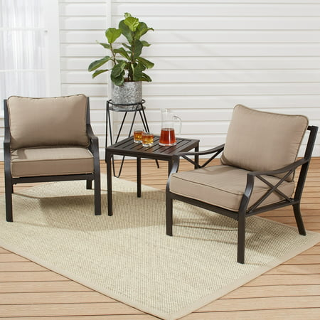 Mainstays Sandhill Metal 3-Piece Patio Chat Set with Cushion ()