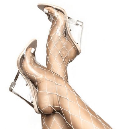 1cb43dc4a390 Cape Robbin LEMONADE Transparent Clear Nude Foot Bed Lucite Wedge Heel Mule  (6.5) - Walmart.com