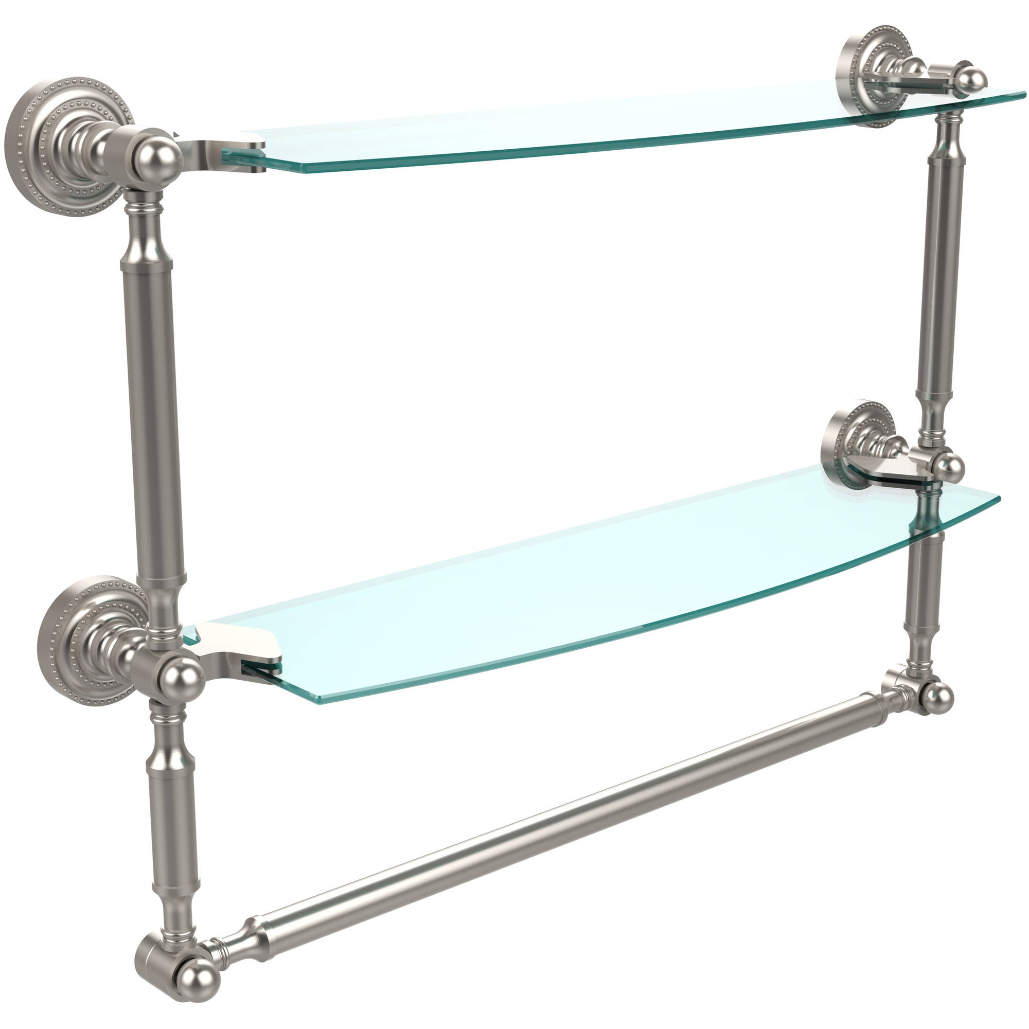 "Dottingham Collection 18"" 2-Tiered Glass Shelf with Integrated Towel Bar (Build to Order)"