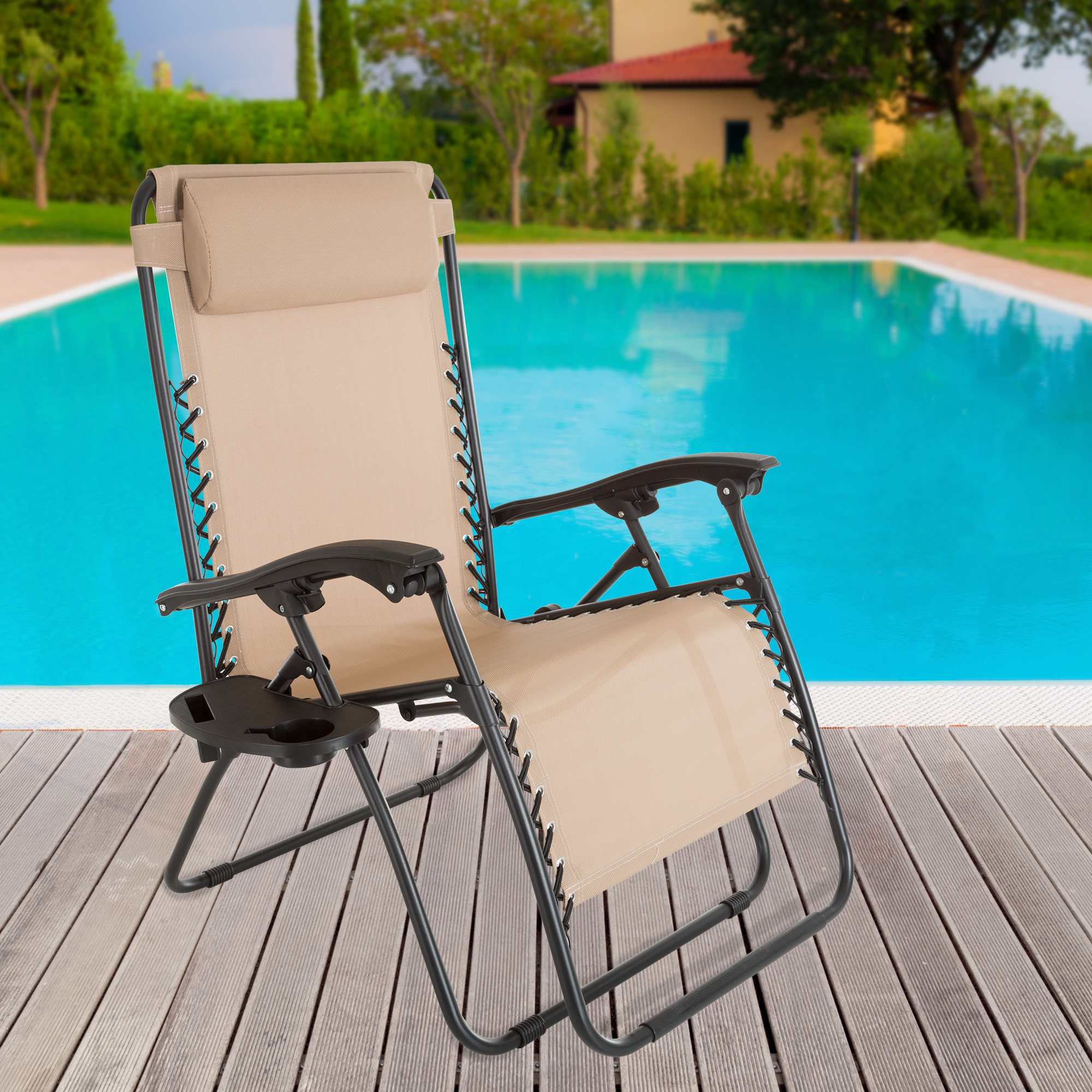 Zero Gravity Outdoor Reclining Foldable Lounge Chair With Pillow Headrest  And Cup Holder For Patio Beach