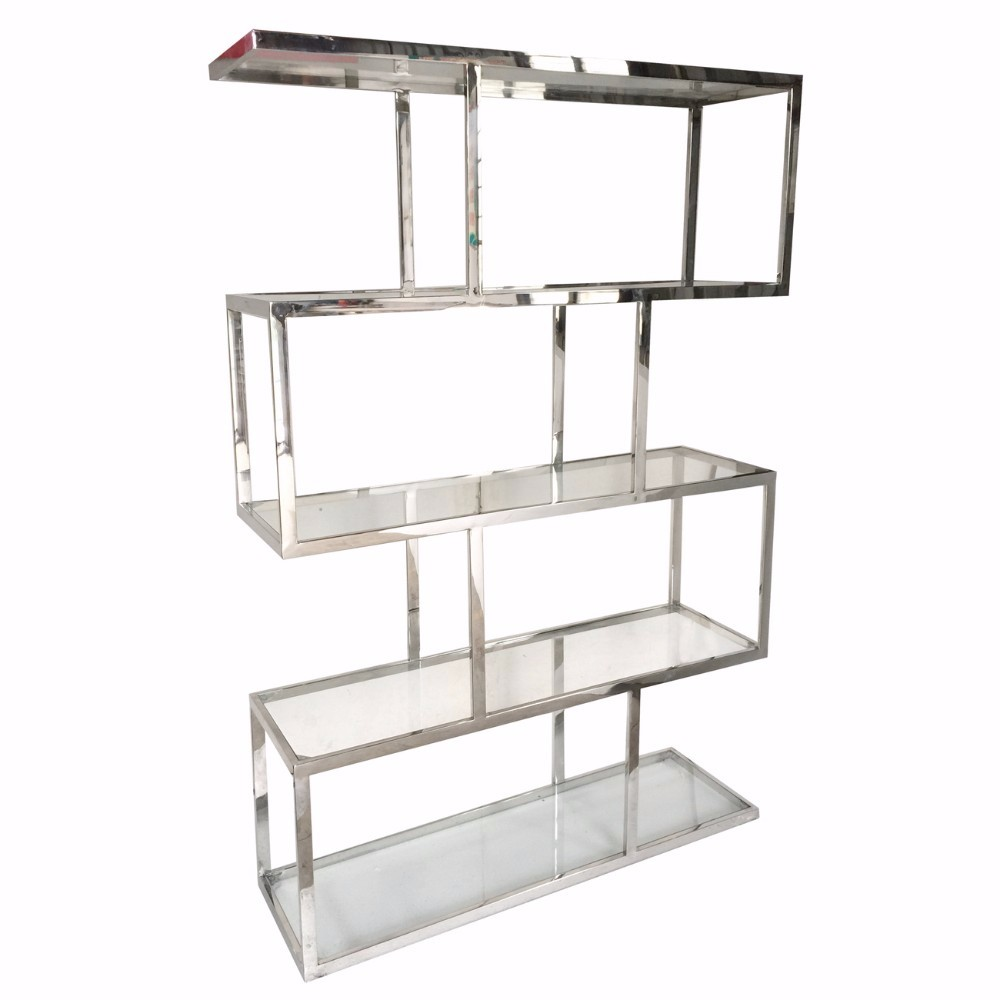 Vesey Metal And Glass Etagere, Silver and Clear by Benzara
