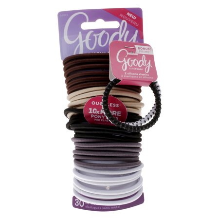 Goody Ouchless No-Metal Hair Elastics, Assorted Neutral Colors, 30 Ct + 2 Bonus (Assorted Hair Elastics)