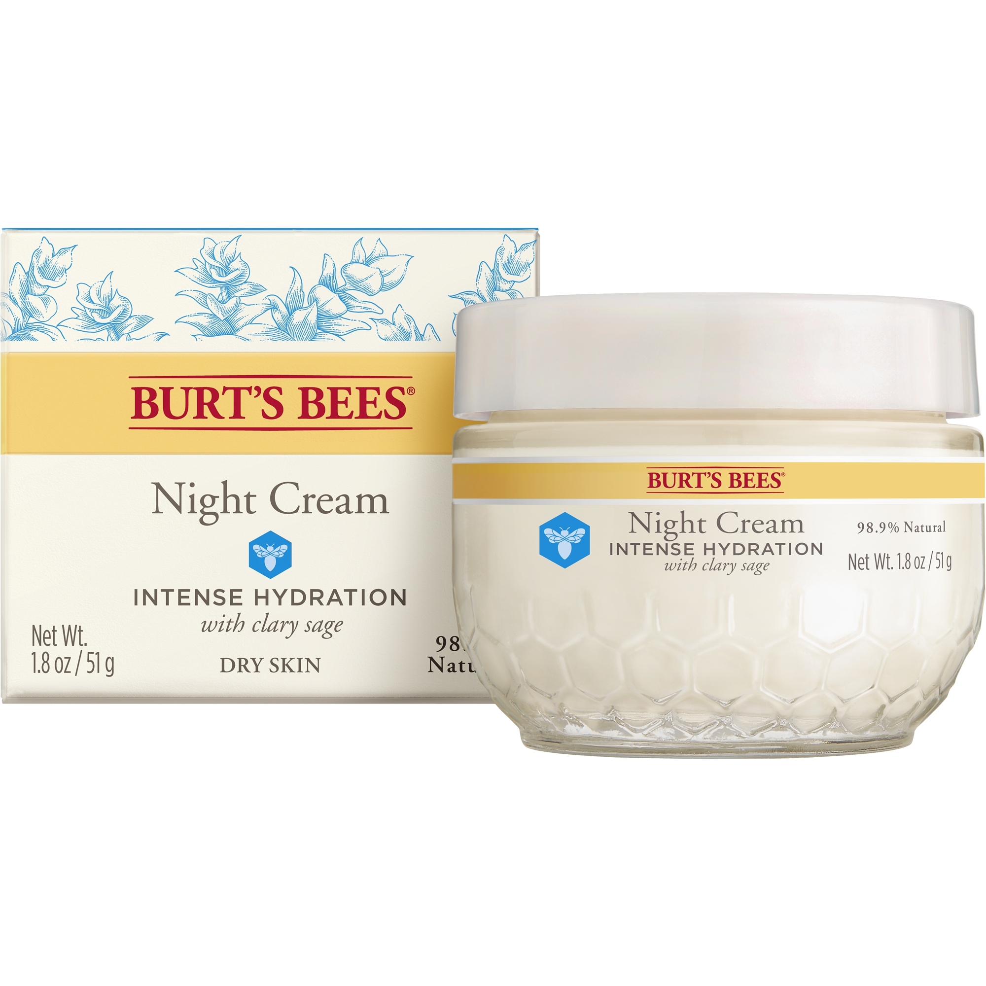 Burt's Bees Intense Hydration Night Cream, Moisturizing Night Lotion, 1.8 oz