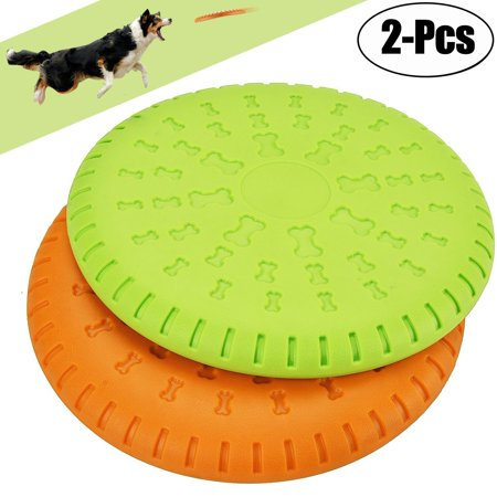 GLiving 2 Pcs Dog Flying Disc Toy - for Small, Medium, or Large Dogs - Soft Natural Rubber Disk for Safety - Best Color Toys for Dogs to See - Heavy Duty, Aerodynamic Design for Outdoor (Best Heavy Duty Dog Toys)