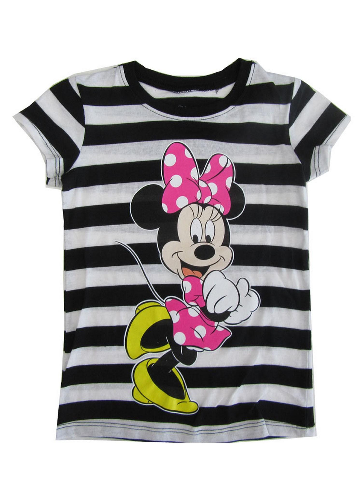 Disney Girls Black White Stripe Minnie Mouse Print Cotton T-Shirt
