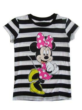 60ec278521c6 Product Image Disney Girls Black White Stripe Minnie Mouse Print Cotton  T-Shirt