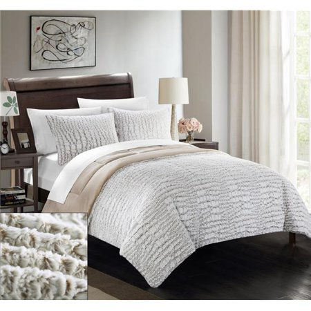 - Chic Home CS5102-BIB-US 7 Piece Cayman New Faux Fur Collection with Mink Like Backing In Alligator Animal Skin Design Queen Comforter Set, Beige with White Sheets