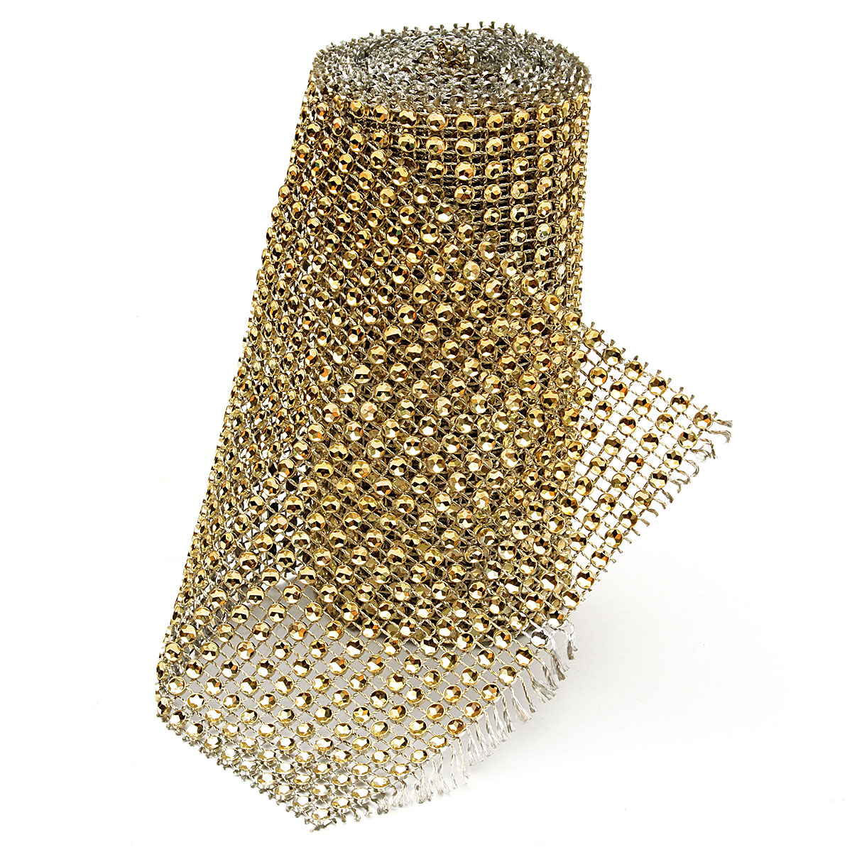 Silver Diamond Rhinestone Ribbon Wrap Bulk DIY Bling-Birthday/ Bridal Shower/Wedding Cake Vase Decorations, Party Supplies,2 Yards