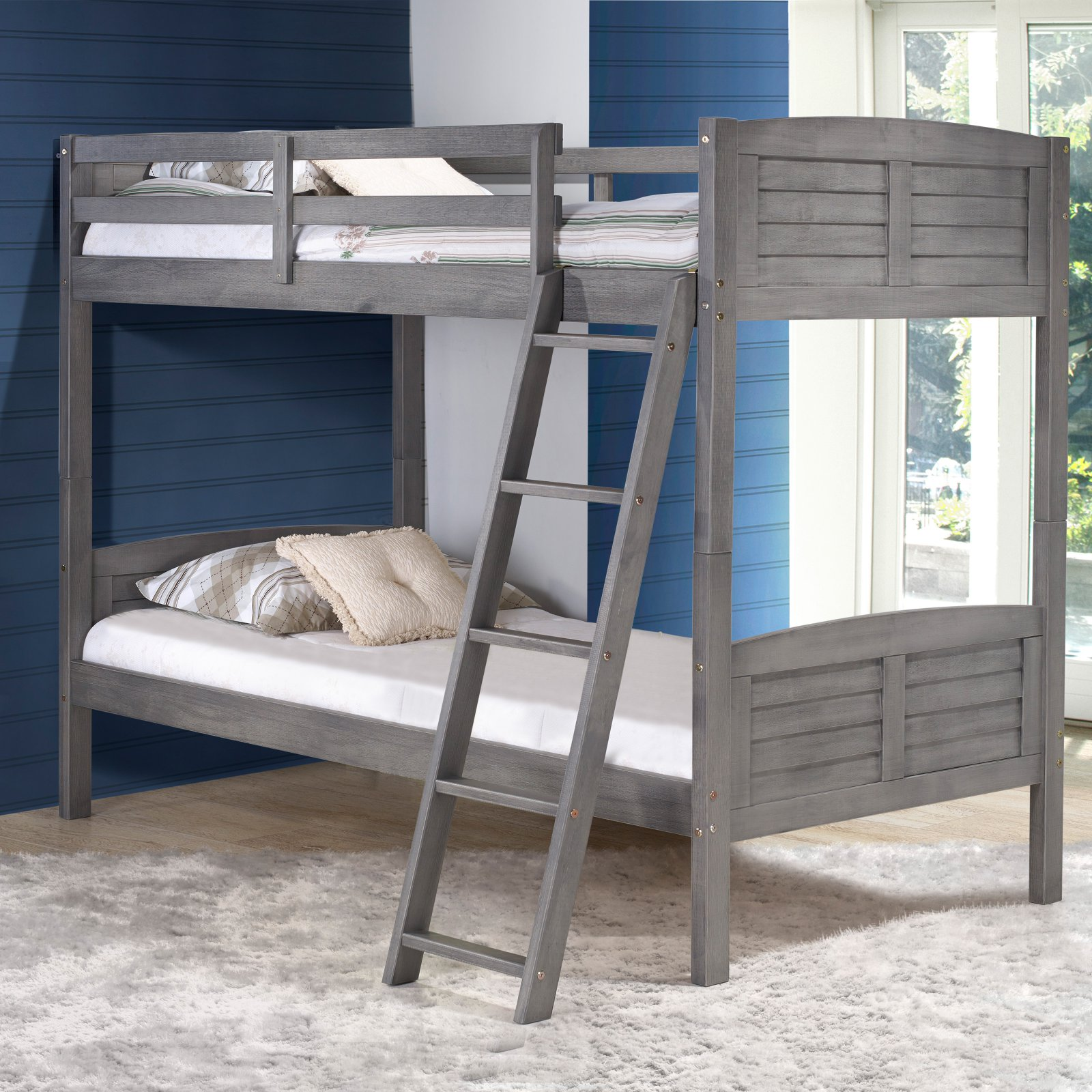 Donco Louver Twin over Twin Bunk Bed - Antique Grey