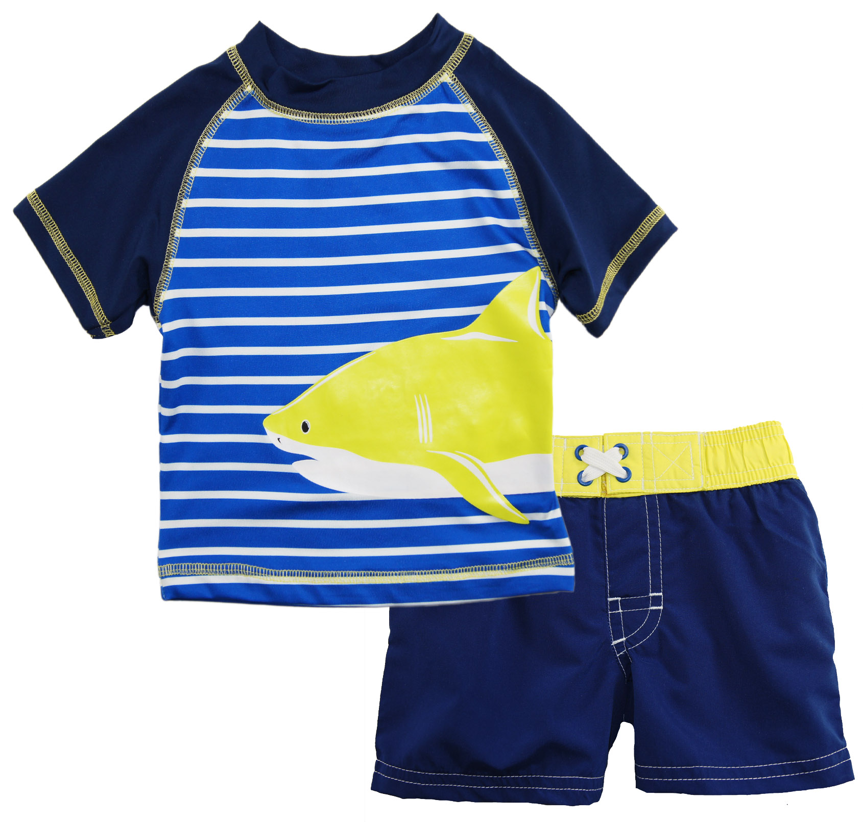 iXtreme Baby Boys' Stripe with Shark Rash Guard Set