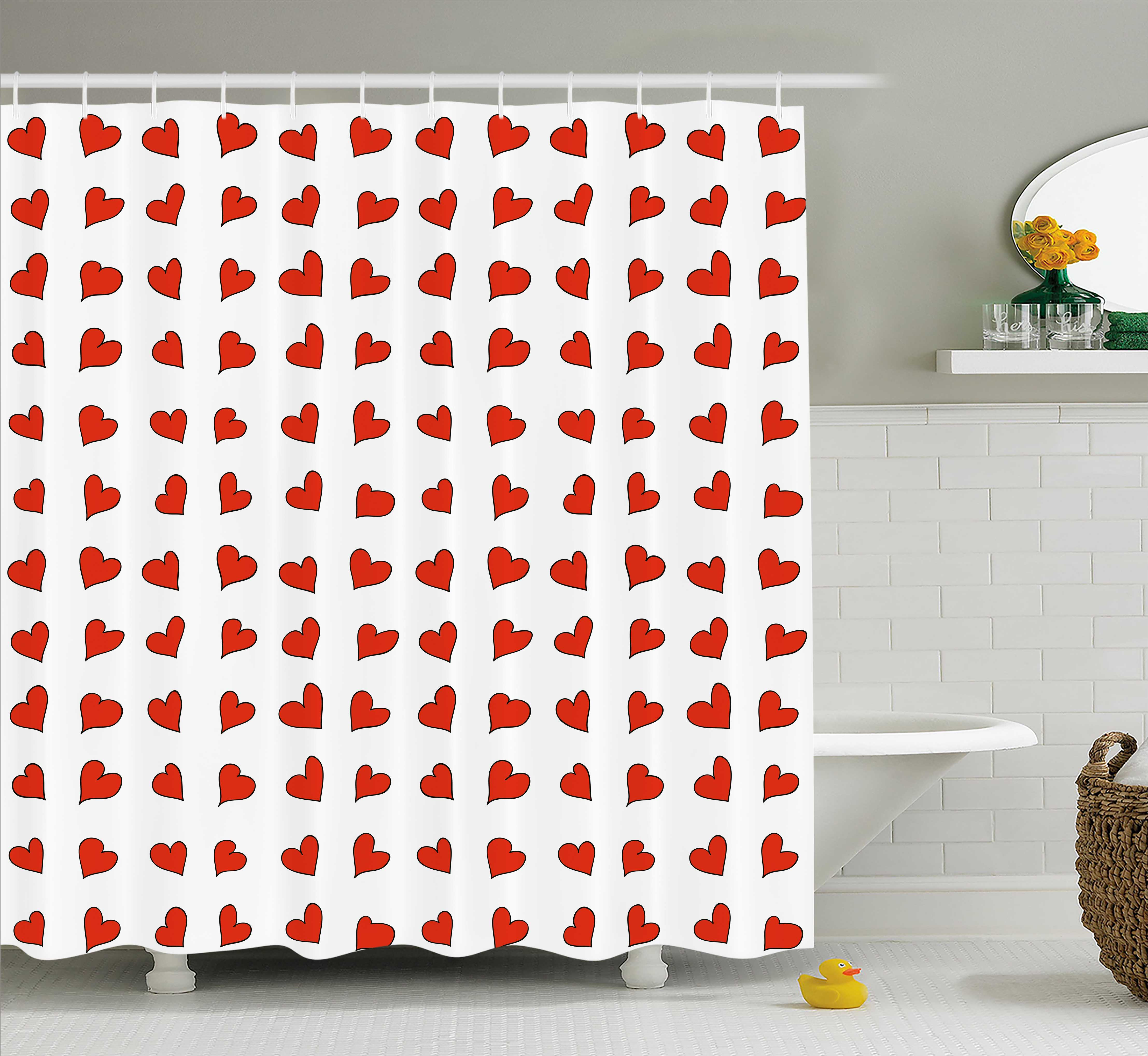 Romantic Shower Curtain, Heart Shapes Pattern Lovers Valentines Day Cute Honeymoon Kids Girls Doodle Design, Fabric Bathroom Set with Hooks, 69W X 84L Inches Extra Long, Red White, by Ambesonne