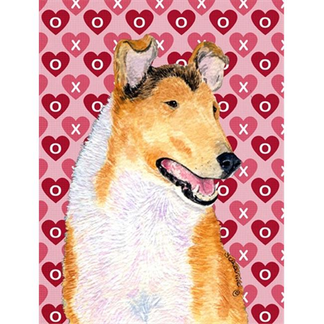 Carolines Treasures SS4470CHF 28 x 40 In. Collie Smooth Hearts Love And Valentines Day Portrait Flag Canvas, House Size - image 1 de 1