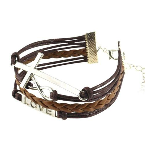Zodaca 7 to 9 inch Adjustable Brown Braided Velvet and Leather Cord Bracelet with Silver Love Cross Design