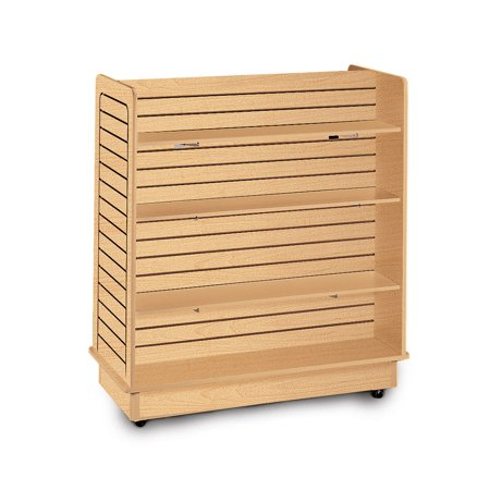 (Maple Slatwall Gondola Unit - 6 Shelves Included (Base and Casters Included))