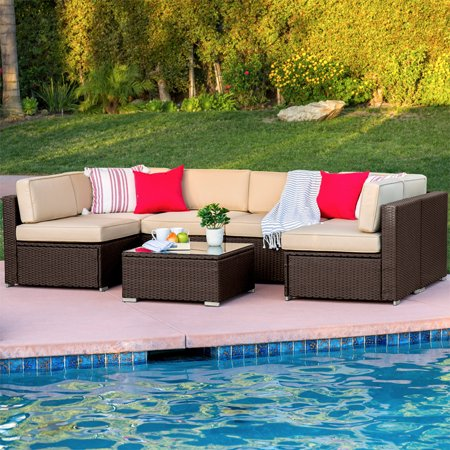 Best Choice Products 7-Piece Modular Outdoor Patio Furniture Set, Wicker Sectional Conversation Sofa w/ 6 Chairs, Coffee Table, Weather-Resistant Cover, Seat Clips, Minimal Assembly Required - Brown ()