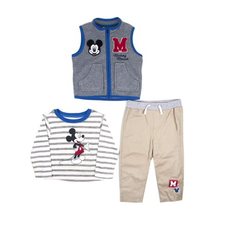 Mickey Mouse Microfleece Vest, Long Sleeve T-shirt & Pants, 3pc Outfit Set (Baby Boys)