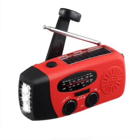 MECO Emergency Radio Solar Hand Crank Weather Radio AM/FM/WB NOAA Radio LED Flashlight with Cable and USB Jacks for Camping Hiking Outdoor Survival ()
