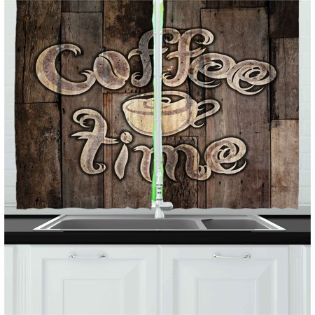 Modern Curtains 2 Panels Set, Coffee Time Phrase with a Cup on a Wooden Grunge Background Kitchen Image, Window Drapes for Living Room Bedroom, 55W X 39L Inches, Umber Cream Cocoa, by Ambesonne