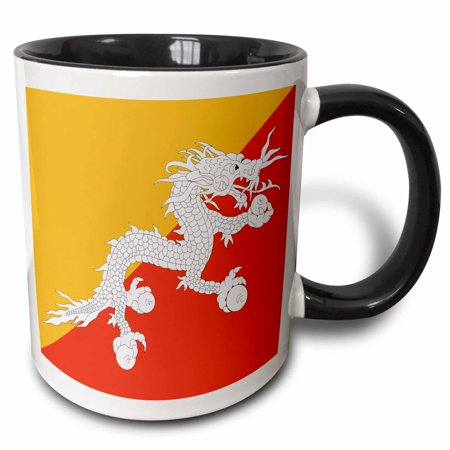 Gold Tone Frosted Metal (3dRose Flag of Bhutan - Druk Bhutanese Thunder Dragon on orange and gold yellow - Asia - Asian world - Two Tone Black Mug, 11-ounce )