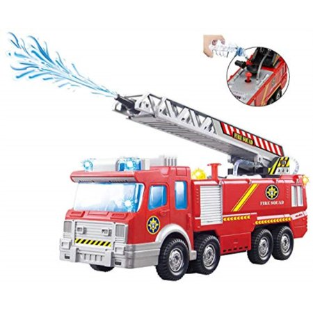 Top Race Fire Engine Truck with Water Pump Spray, Extending Rescue Ladder, and Flashing Lights and Sirens, Battery Operated Bump