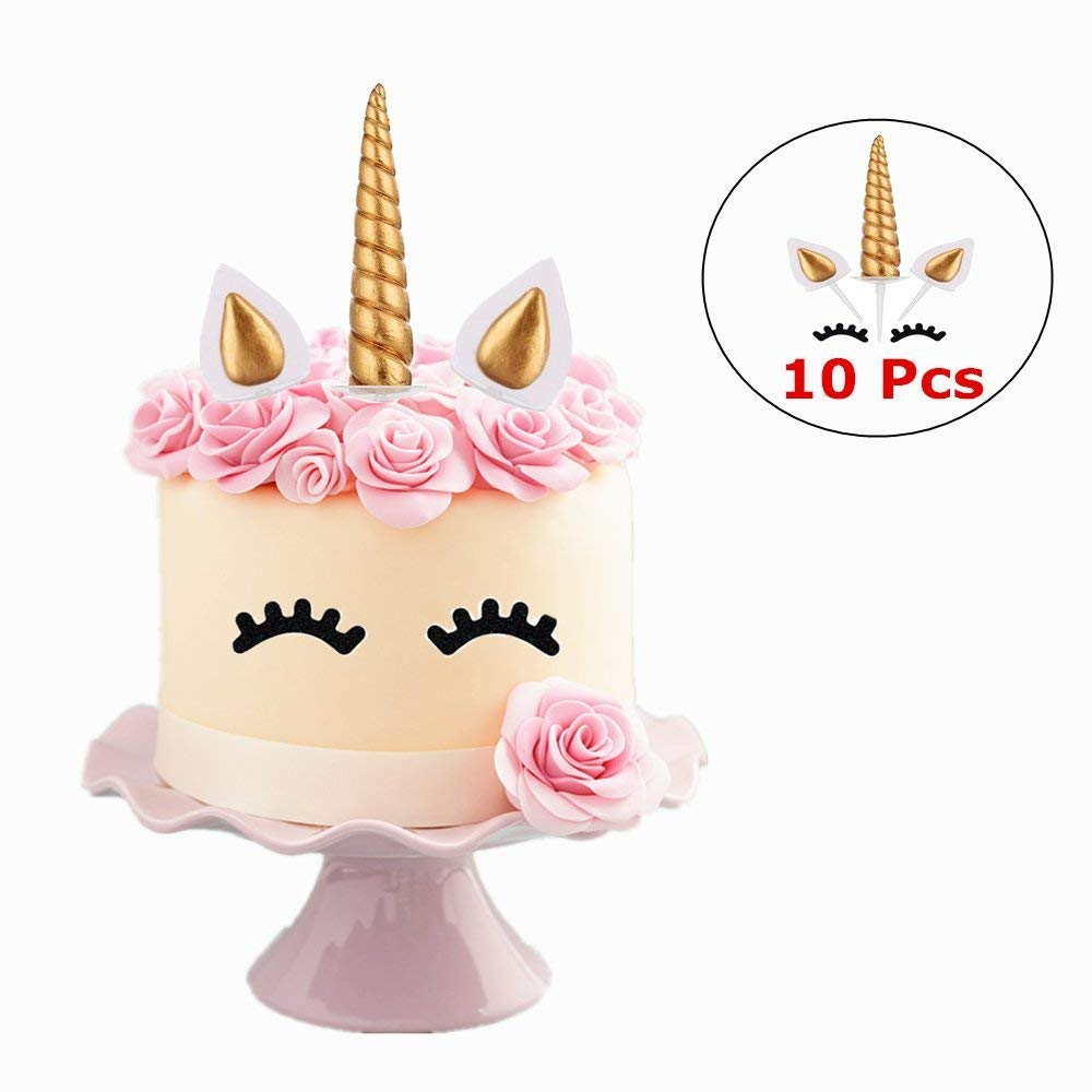 Gold Unicorn Cake Topper Set Party Supplies Polymer Clay Cupcake