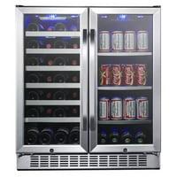 "EdgeStar CWB2886FD Stainless Steel 30"" Wide 28 Bottle Built-In Dual Zone Beverage Center"