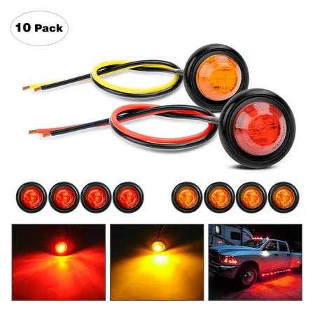 "Nilight TL-02 5PCS 5PCS 10 PCS 3/4"" Round Mini Clearance LED Front Rear Side Indicator Bullet Marker Light for Truck RV Car Bus Trailer Van Caravan Boat (12V, Red+Amber), 2 -"