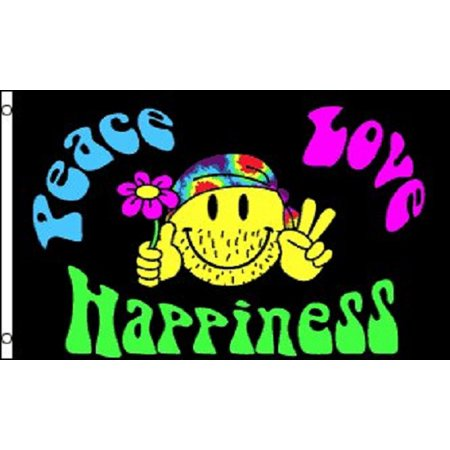 Peace Love and Happiness Flag Hippie Party Banner Sign Pennant New