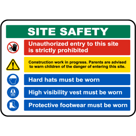 Traffic Signs - Site Safety Rules & PPE Required Sign 4 10 x 7 Aluminum Sign Street Weather Approved Sign 0.04 Thickness