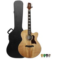 Sawtooth Spruce Jumbo Acoustic-Electric Guitar with Flame Maple Back & Sides, Includes ChromaCast Hard Case and Pick Sampler