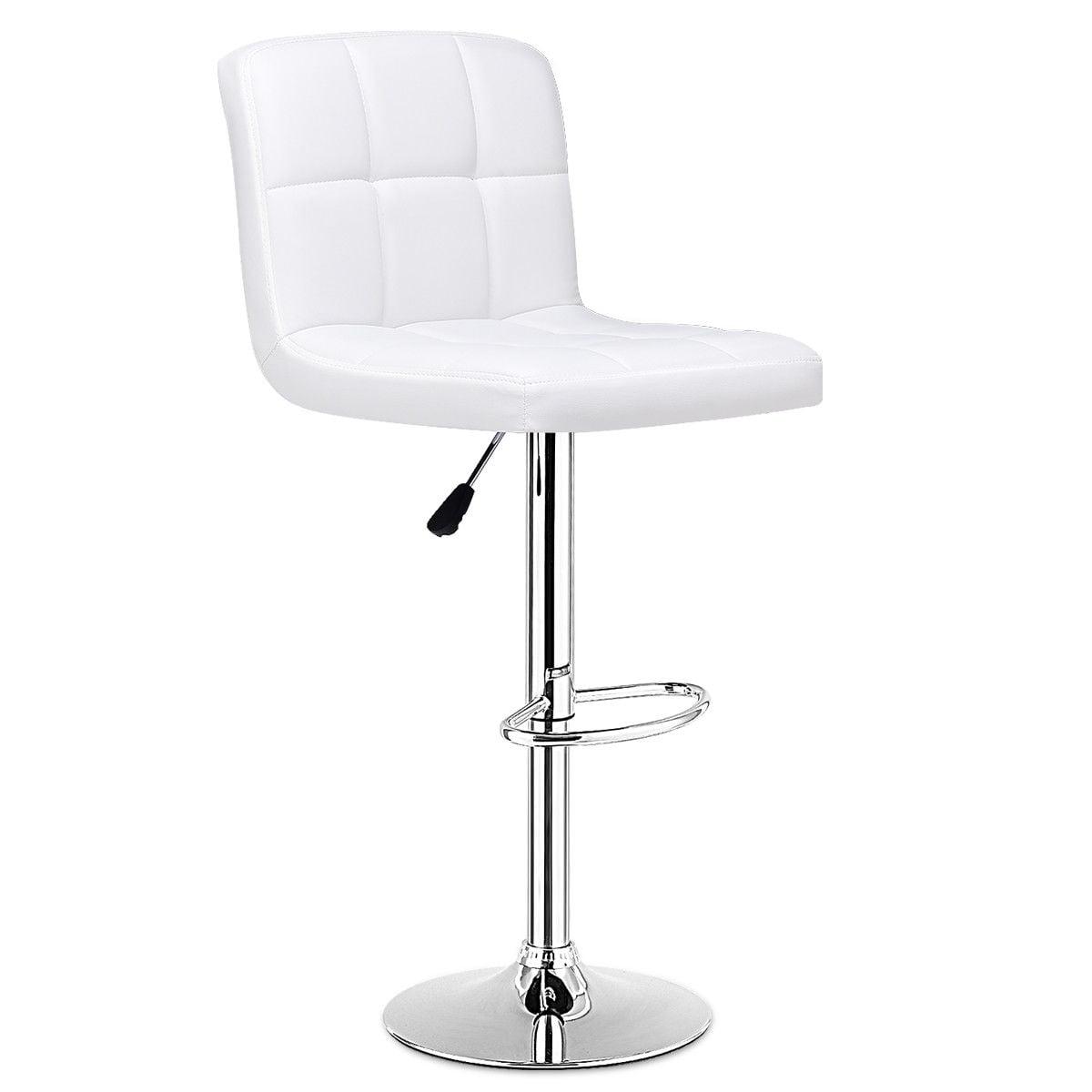 Set Of 2 Bar Stools PU Leather Adjustable Barstool Swivel Pub Chairs White - image 4 de 10