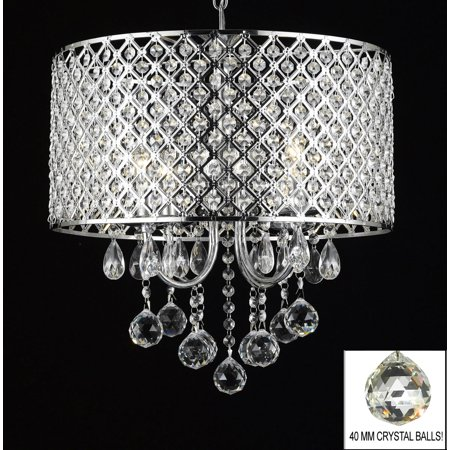Modern Contemporary Chrome Crystal 4 Light Round Ceiling Chandelier Chandel