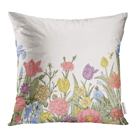Iris Border - ARHOME Spring Flowers Floral Border Pastel Poppies Iris Tulips Carnations Primroses Pillow Case Pillow Cover 18x18 inch Throw Pillow Covers