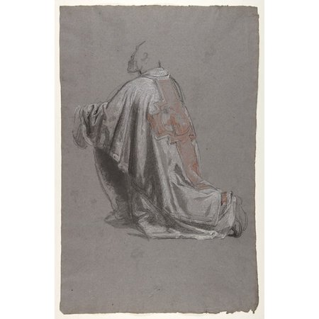 Drapery Study For A Bishop  Lower Register  Verso Sketch Of A Sleeve  Studies For Wall Paintings In The Chapel Of Saint Remi Sainte Clotilde Paris 1858  Poster Print By Isidore Pils  18 X 24