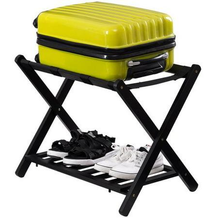 Costway Folding Luggage Rack with Shelf Travel Suitcase (Set of 4)