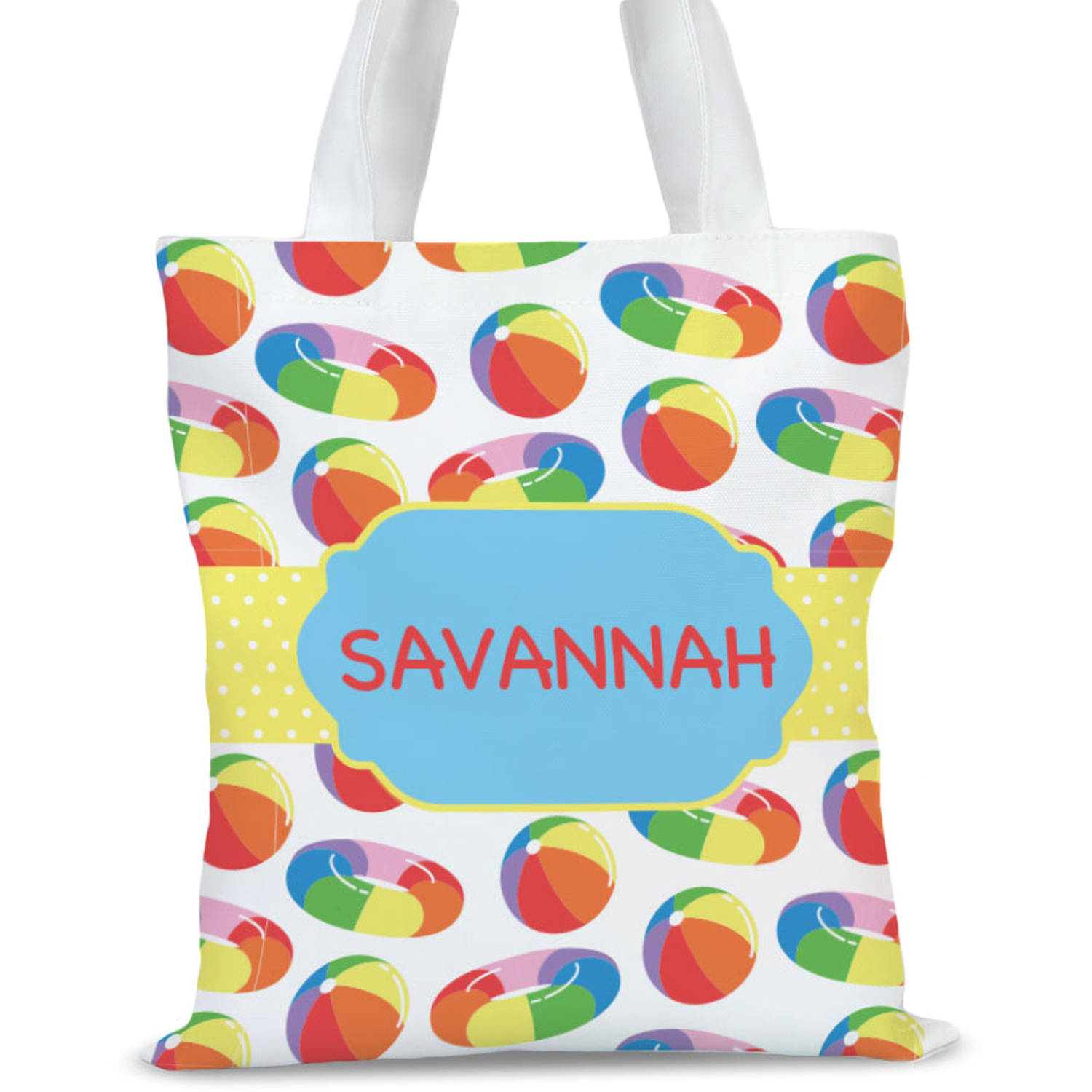 """Pool Fun Personalized Kids Tote Bag, Sizes 11"""" x 11.75"""" and 15"""" x 16.25"""""""
