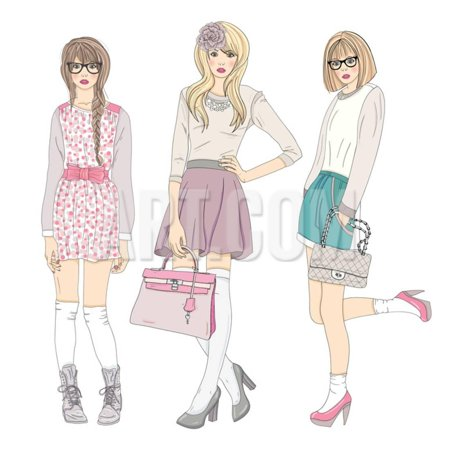 Young Fashion Girls Illustration. With Teen Females Print Wall Art By cherry blossom - Cherry Blossom Girl Halloween