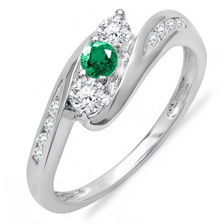 Dazzlingrock Collection 14k Round White Diamond And Emerald Ladies Swirl Engagement 3 Stone Bridal Ring, White Gold, Size 7