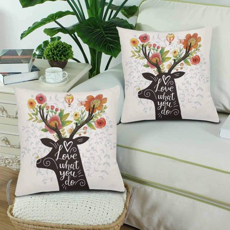 GCKG Love What You Do Deer Silhouette Flower Lovely Spring Throw Pillow Covers 18x18 inches Set of 2 - image 1 of 3