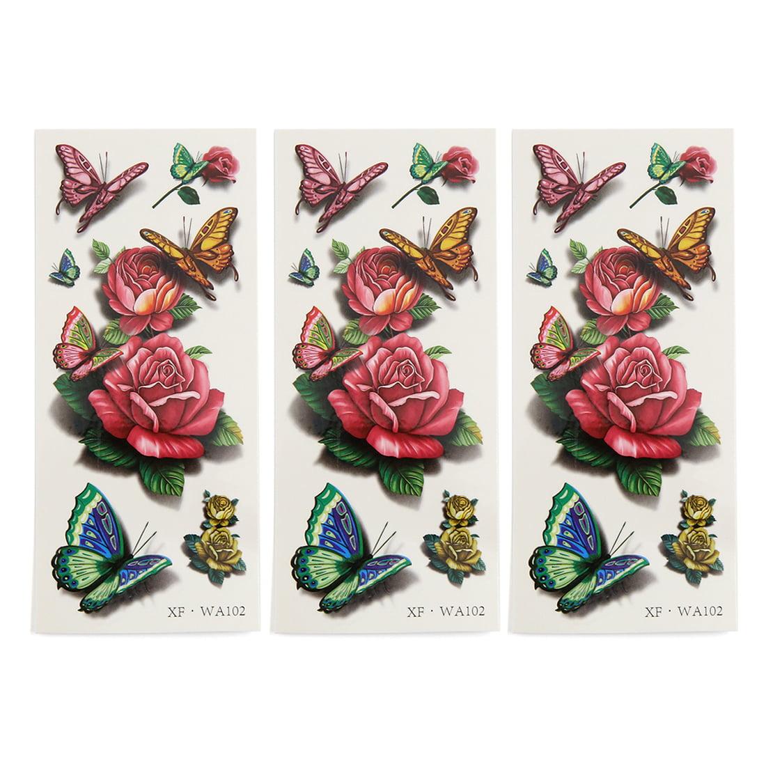3 pcs flowers printed temporary tattoo sticker body for ladies walmart com