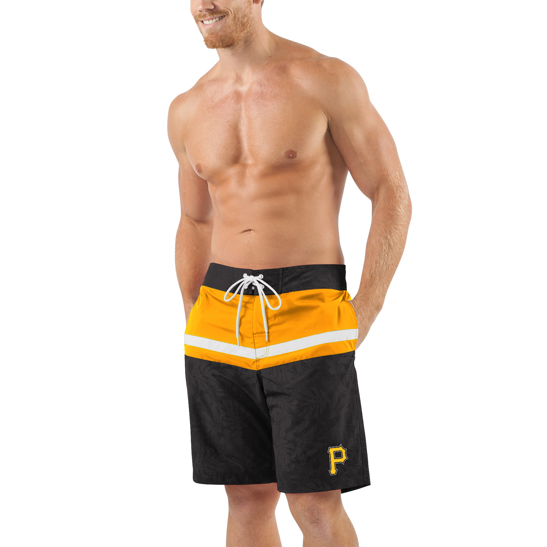 Pittsburgh Pirates G-III Sports by Carl Banks Breaking Waves Swim Trunks - Black