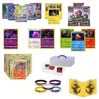 Totem World Mewtwo GX Lot with 1 Detective Pikachu Card, 3 Detective Booster Packs, 5 Holo Foil Cards, 20 Pokemon Cards, 1 Collectors Binder Album, 5pcs Bracelet Set All in a Storage Carrying Case