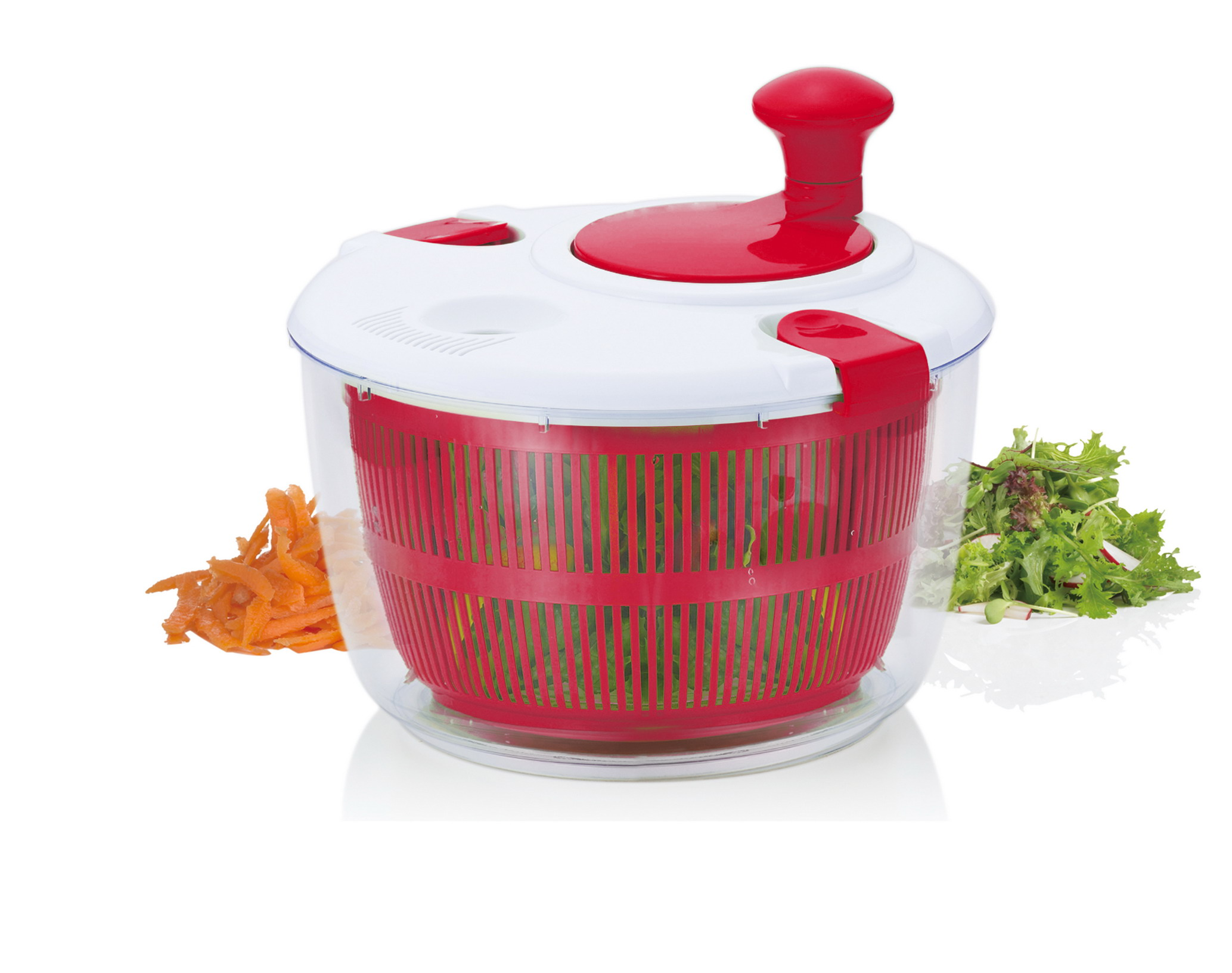 Brilliant Salad Spinner Vegetable Dryer, Red by