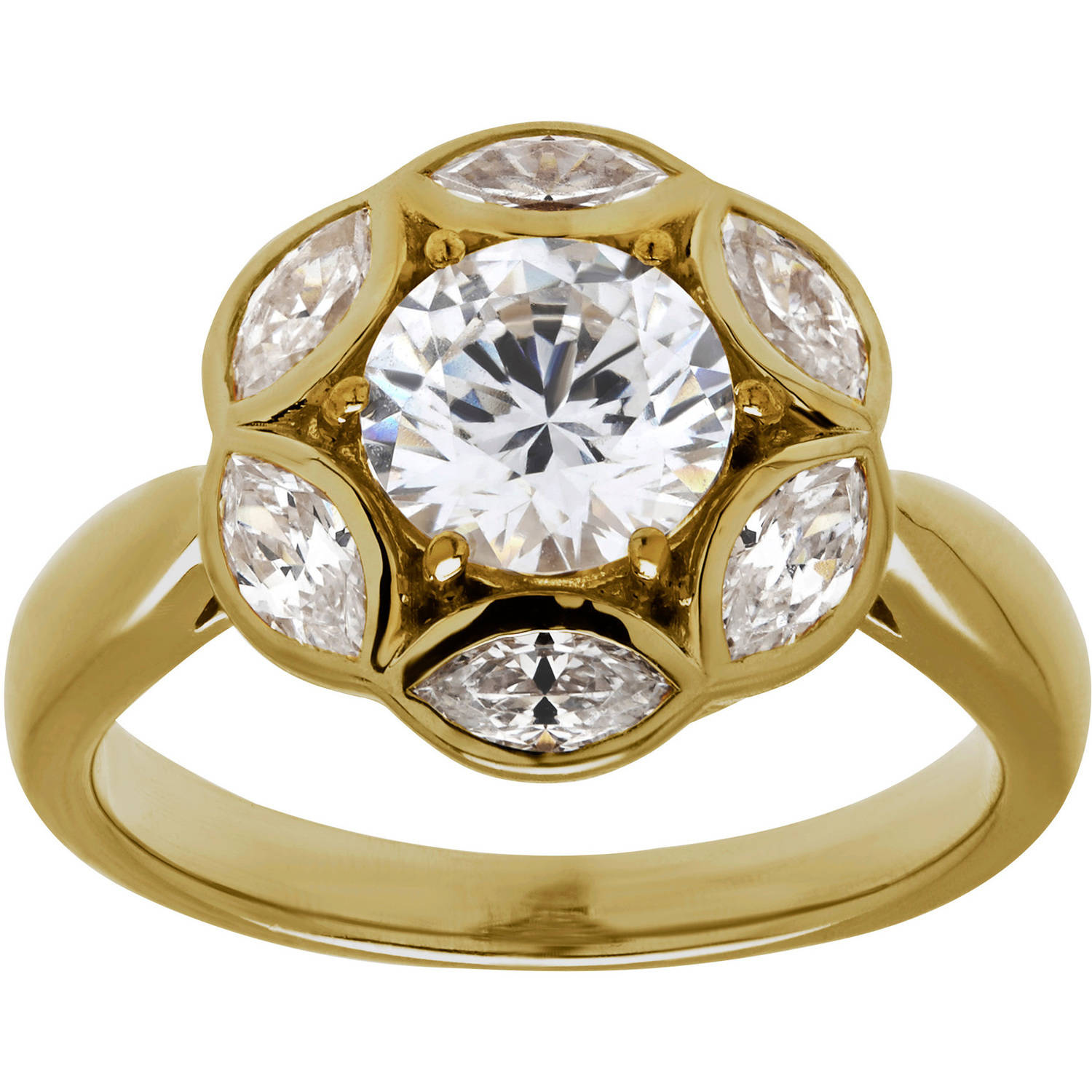 10.75 Carat T.G.W. Cubic Zirconia Solitaire Gold over Sterling Silver Ring, Size 7