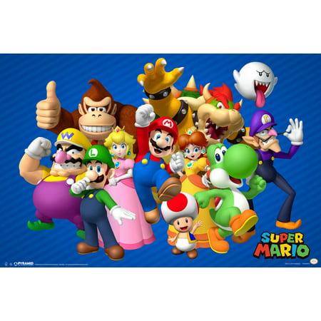 Super Mario Bros Nintendo Platform Video Game Group Characters Mario Luigi Princess Poster   18X12 Inch