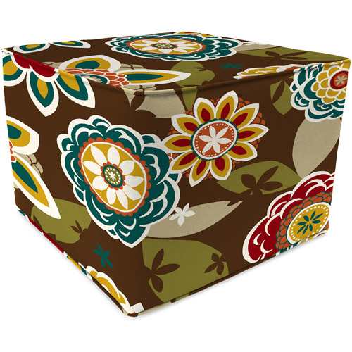 Jordan Manufacturing Square Outdoor Pouf/Ottoman, Annie Chocolate