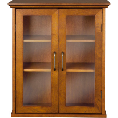 Elegant Home Fashions Calais Wall Cabinet, Oil Oak