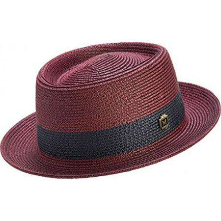 Pumpkin Pie Hat (Montique Men's Two Tone Braided Pork Pie Hat (L,)