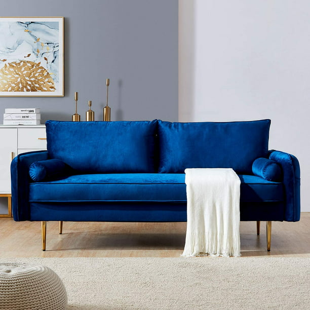 Blue Velvet Sofa 71 Fabric Sofa Couch For Living Room Modern Upholstered Sofas With Solid Wood Frame And Metal Golden Leg Velvet Loveseat Sofa Couch For Small Spaces And Office L1173